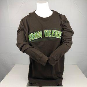 John Deere Brown Long Sleeve Embroider Patch Shirt